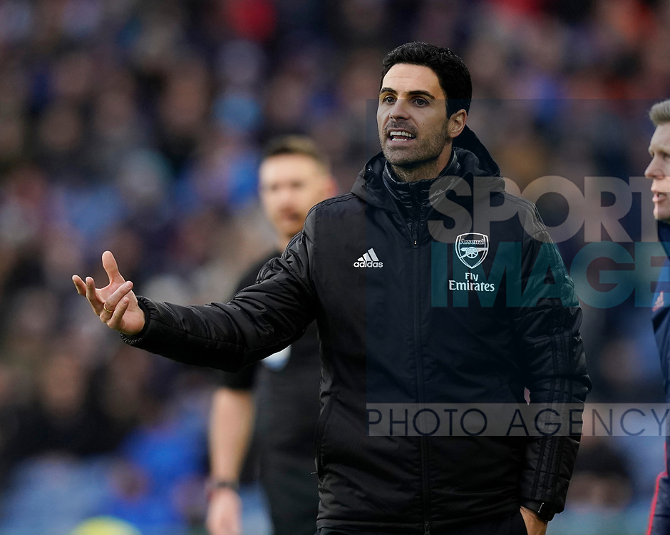 Mikel Arteta manager of Arsenal issues instructions during the Premier League match at Turf Moor, Burnley. Picture date: 2nd February 2020. Picture credit should read: Andrew Yates/Sportimage