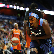 UNCASVILLE, CONNECTICUT- JUNE 3:  Tiffany Hayes #15 of the Atlanta Dream celebrates a basket  during the Atlanta Dream Vs Connecticut Sun, WNBA regular season game at Mohegan Sun Arena on June 3, 2016 in Uncasville, Connecticut. (Photo by Tim Clayton/Corbis via Getty Images)