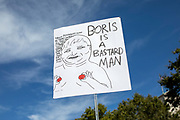 An anti Boris Johnson placard during protests against the proroguing of Parliament on 31st August 2019 in London in the United Kingdom. Left-wing group Momentum and the Peoples Assembly coordinated a series of Stop The Coup protests across the UK today, aimed at Boris Johnson and the UK government proroguing Parliament.