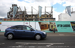 7 June 2017 - Boleyn Ground Demolition<br /> A general view (gv) of the demolition of the West Stand at Upton Park ; surrounding boards advertise Upton Gardens - the flats that will be built on the plot<br /> Photo: Charlotte Wilson / Offside