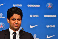 PSG's Qatari president Nasser Al-Khelaifi during a press conference to present the club's new recruit Jese Rodriguez Ruiz at the Parc des Princes stadium in Paris, France, on August 8, 2016. Twenty-three year old Spanish attacker Jese, formerly of Real Madrid, signed a five-year contract with Paris Saint Germain (PSG), announced by PSG on August 8 in Paris. Photo by Christian Liewig/ABACAPRESS.COM