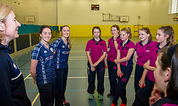Pictured: <br /> Aileen Campbell MSP (Minister for Public Health and Sport) joined Abbi Aitken (Scotland captain) Steve Knox (Scotland women's coach), Nicola Wilson (CS women's participation manager) and Oli Rae (opener for Edinburgh and Scotland) today at Edinburgh' Fettes College to promote women's cricket ahead of the national team's trip to Sri Lanka for the ICC Women's World Cup Qualifier (in Sri Lanka) on 29 January. <br /> Ger Harley | EEm 24 January 2017