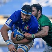 Roma 27/02/2021, Stadio Olimpico<br /> Guinness Six Nations 2021<br /> Italia vs Irlanda <br /> <br /> David Sisi placcato da Robbie Henshaw