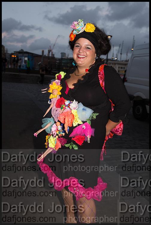 BUFFY COOK, Andrew Logan's Alternative Miss World 2014. Shakespeare's Globe, London. 18 October 2014.
