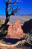At 450 ft. high, Independence Monument in Monumnet Canyon is the largest free-standing formation in the park.  The Grand Valley and the Book Cliffs are in the distance. Colorado National Monument.  Colorado, USA.