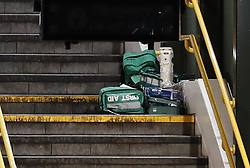© Licensed to London News Pictures. 27/01/2020. London, UK. Emergency medical equipment sits on the stairs at the entrance to East Croydon railway station where man has been stabbed to death. The incident took place at a busy railway station at around 4. 30pm this afternoon. Photo credit: Peter Macdiarmid/LNP