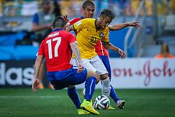 Neymar Júnior na partida entre Brasil x Chile, válida pelas oitavas de final da Copa do Mundo 2014, no Estádio Mineirão, em Belo Horizonte. FOTO: Jefferson Bernardes/ Agência Preview