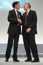 © Licensed to London News Pictures. 29/09/2011. LONDON, UK. Ed Miliband, Leader of the Labour Party congratulates Hilary Benn after he delivered his speech to The Labour Party Conference in Liverpool today (29/09/11). Photo credit:  Stephen Simpson/LNP