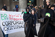 BP or not BP, a political performance group stage another one of their theatrical performances at the British Museum to highlight the fact that the Museum is sponsorer by BP, one of the world biggest oil producing companies and responsoble for numerous oils spills, including the biggest one in history, the Horizon oil disaster in the Mexican gulf.