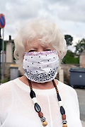 woman with self made mask during the Covid 19 crisis and lockdown France Limoux April 2020