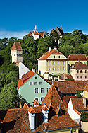 View of Sighisoara Saxon fortified medieval citadel from the clock tower, Transylvania, Romania .<br /> <br /> Visit our ROMANIA HISTORIC PLACXES PHOTO COLLECTIONS for more photos to download or buy as wall art prints https://funkystock.photoshelter.com/gallery-collection/Pictures-Images-of-Romania-Photos-of-Romanian-Historic-Landmark-Sites/C00001TITiQwAdS8<br /> .<br /> Visit our MEDIEVAL PHOTO COLLECTIONS for more   photos  to download or buy as prints https://funkystock.photoshelter.com/gallery-collection/Medieval-Middle-Ages-Historic-Places-Arcaeological-Sites-Pictures-Images-of/C0000B5ZA54_WD0s