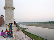 Enjoing the view of the Jamuna River from the terrace of the Taj Mahal, Agra