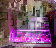 PUGLIA , ITALY, Cisternino, Butcher in the main square. here you can order the meat and make them cook it on the place