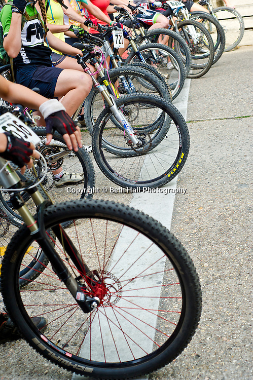 Stock photography of a bikers riding before the Fat Tire Festival in downtown Eureka Springs, Arkansas.