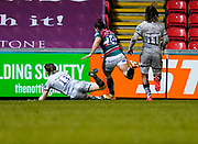 Sale Sharks centre Sam James dives over the Leicester Tigers try line to score an interception try during a Gallagher Premiership Round 7 Rugby Union match, Friday, Jan. 29, 2021, in Leicester, United Kingdom. (Steve Flynn/Image of Sport)