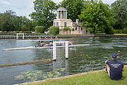 """Henley on Thames, United Kingdom, 23rd June 2018, Saturday,   """"Henley Women's Regatta"""",  view, Coach, sitting, watching, the crews, in their Heats, pass the """"Temple Folly"""", on. """"Temple Island"""", Henley Reach, River Thames, Thames Valley,  England, © Peter SPURRIER/Alamy Live News"""