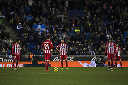 December 22, 2017 - Barcelona, Spain - BARCELONA, SPAIN - DECEMBER 22: Atletico de Madrid players disconsolate by the defeat during the match of La Liga Santander between RCD Espanyol v Atletico de Madrid, at RCD Stadium in Barcelona on 22 of December, 2017. (Credit Image: © Xavier Bonilla/NurPhoto via ZUMA Press)