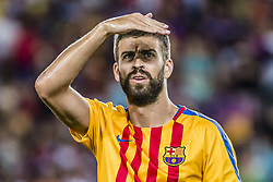 August 13, 2017 - Barcelona, Catalonia, Spain - FC Barcelona defender PIQUE looks on during the warm up prior to the Spanish Super Cup Final 1st leg between FC Barcelona and Real Madrid at the Camp Nou stadium in Barcelona. (Credit Image: © Matthias Oesterle via ZUMA Wire)