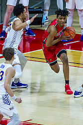 NORMAL, IL - February 27:  Emon Washington rushes the lane defended by Trae Berhow during a college basketball game between the ISU Redbirds and the Northern Iowa Panthers on February 27 2021 at Redbird Arena in Normal, IL. (Photo by Alan Look)