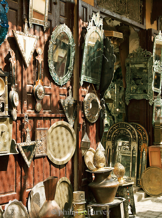 Metalwork for sale at shops in Place Seffarine, Fes, Morocco