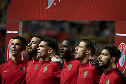 March 22, 2019 - Lisbon, Portugal - Cristiano Ronaldo of Portugal and Juventus, Rui Patricio of Portugal and Wolverhampton Wanderers FC, Pepe of Portugal and FC Porto, William Carvalho of Portugal and Real Betis, Ruben Dias of Portugal and SL Benfica, Ruben Neves of Portugal and Wolverhampton Wanderers FC during the Euro 2020 qualifying football match Portugal vs Ukraine at Luz stadium in Lisbon on March 22, 2019. (Credit Image: © Filipe Amorim/NurPhoto via ZUMA Press)