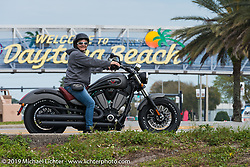 Melissa Shoemaker on the just introduced Victory Judge on Speedway Boulevard during Daytona Bike Week. FL., USA. March 9, 2014.  Photography ©2014 Michael Lichter.