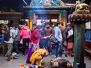 07 MARCH 2017 - KATHMANDU, NEPAL: The entrance to the Kamaladi Ganesh Temple, the most important Hindu temple dedicated to Ganesh, known as the overcomer of obstacles, in Kathmandu. In Hindu theology, Tuesdays are the best day to pray to Ganesh and the temple is very busy on Tuesdays. People frequently visit temples dedicated to Ganesh when they buy a new home or start a new job.     PHOTO BY JACK KURTZ