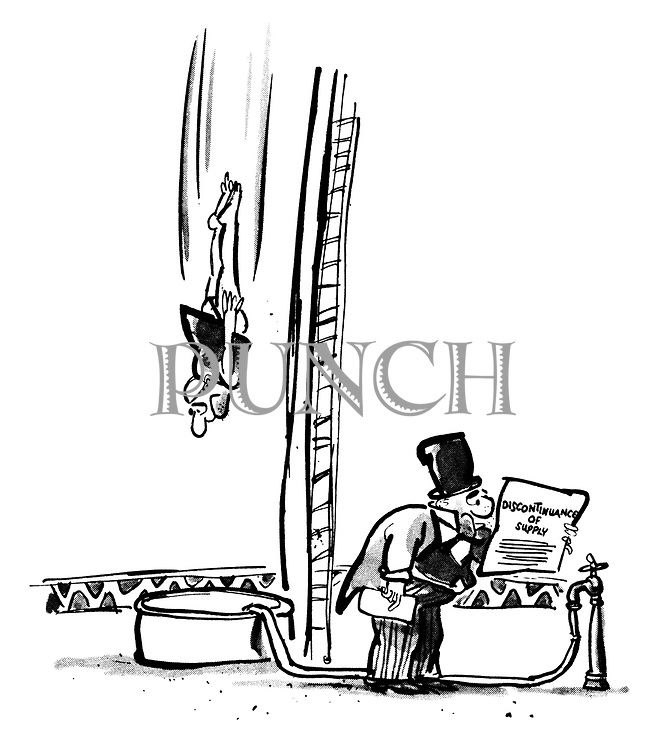 (A stunt diver at a circus plummets towards a tank of water while the ringmaster reads an official notice from the water company announcing a discontinuation of supply)