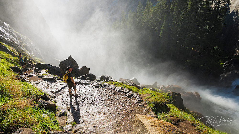 Hikers on the Mist Trail, Yosemite National Park, California USA