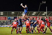 Sale Sharks second-row Jean-Luc Du Preez  catches from a line-out during a Gallagher Premiership Rugby Union match Sale Sharks -V- Leicester Tigers won by Sale 36-3, Friday, Feb. 21, 2020, in Eccles, United Kingdom. (Steve Flynn/Image of Sport via AP)