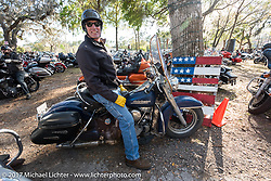 Tom Hinderholtz on his Panhead at the Cycle Source bike show at the Broken Spoke Saloon during Daytona Beach Bike Week. FL. USA. Tuesday, March 14, 2017. Photography ©2017 Michael Lichter.