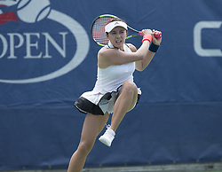 August 22, 2017 - New York, New York, United States - Na-Lae Han of Korea returns ball during qualifying game against Jamie Loeb of USA at US Open 2017  (Credit Image: © Lev Radin/Pacific Press via ZUMA Wire)
