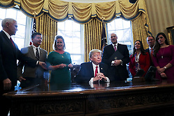 Washington, DC - February 3, 2017; U.S. President Donald Trump pauses after signing an Executive Order in the Oval Office of the White House, to review the Dodd-Frank Wall Street to roll back financial regulations of the Obama era.
