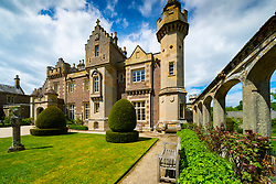 Exterior view of Abbotsford House and gardens in Melrose , Scottish Borders, Scotland, UK