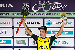 Primoz Roglic of Team Lotto NL Jumbo celebrates at ceremony after 4th Stage of 25th Tour de Slovenie 2018 cycling race between Ljubljana and Kamnk (155,2 km), on June 14, 2018 in  Slovenia. Photo by Matic Klansek Velej / Sportida