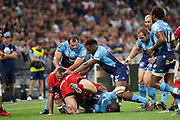 Louis Picamoles of Montpellier and Hendrik Lambertus Roodt of Lyon during the French championship Top 14 Rugby Union semi-final match between Montpellier v Lyon OU on May 25, 2018 at Groupama stadium in Lyon, France - Photo Romain Biard / Isports / ProSportsImages / DPPI