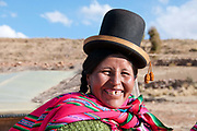 Bolivia June 2013. Altiplano. Huasahuasi, near Cajamarca. Portrait of  Rotilda, smiling and wearing traditional Aymaran clothes.