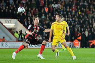 Dan Gosling and Phillipe Coutinho during the Capital One Cup match between Bournemouth and Liverpool at the Goldsands Stadium, Bournemouth, England on 17 December 2014.