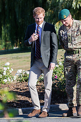 Prince Harry, the Duke of Sussex, is seen arriving at Commando Training Centre Royal Marines, Lympstone. The Duke arrived at the centre in a  Royal Navy Wildcat Marine Attack Helicopter.<br /><br />13 September 2018.<br /><br />Please byline: Vantagenews.com