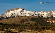 Morning light on Ear Mountain along the Rocky Mountain Front near Choteau, Montana, USA