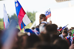 Fans during arrival of Slovenian national team from Tokio 2020 Olympic games, 8. August 2021, Airport Jozeta Pucnika, Ljubljana, Slovenia. Photo by Grega Valancic