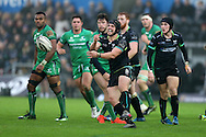 Dan Evans of Ospreys (c)  in action. Guinness Pro12 rugby match, Ospreys v Connacht rugby at the Liberty Stadium in Swansea, South Wales on Saturday 7th January 2017.<br /> pic by Andrew Orchard, Andrew Orchard sports photography.