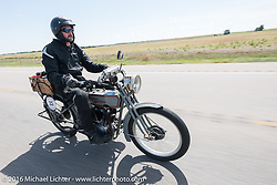 Jon Dobbs of Wisconsin riding his 1915 Harley-Davidson in the Motorcycle Cannonball Race of the Century. Stage-8 from Wichita, KS to Dodge City, KS. USA. Saturday September 17, 2016. Photography ©2016 Michael Lichter.