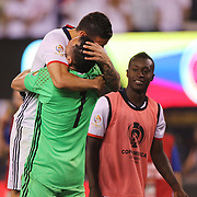EAST RUTHERFORD, NEW JERSEY - JUNE 17:  James Rodriguez #10 of Colombia celebrates his side penalty shoot out win with goalkeeper David Ospina #1 of Colombia during the Colombia Vs Peru Quarterfinal match of the Copa America Centenario USA 2016 Tournament at MetLife Stadium on June 17, 2016 in East Rutherford, New Jersey. (Photo by Tim Clayton/Corbis via Getty Images)