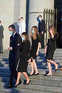 King Felipe VI of Spain, Queen Letizia of Spain, Crown Princess Leonor, Princess Sofia attend Covid-19 mass Funeral at La Almudena Cathedral on July 7, 2020 in Madrid, Spain