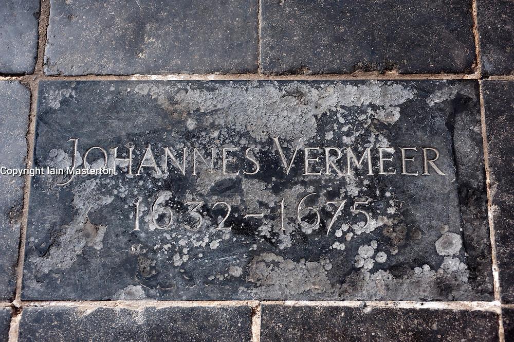 Floor plaque indicating  resting place of artist Johannes Vermeer in Oude Kerk, Delft, The Netherlands
