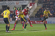 Rotherham United defender Kirk Broadfoot (5)  with a goal wards header during the Sky Bet Championship match between Rotherham United and Middlesbrough at the New York Stadium, Rotherham, England on 8 March 2016. Photo by Simon Davies.