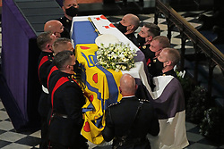 The coffin is carried into St George's Chape during the funeral of the Duke of Edinburgh at Windsor Castle, Berkshire. Picture date: Saturday April 17, 2021.