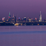 NYC skyline at night from hudson river