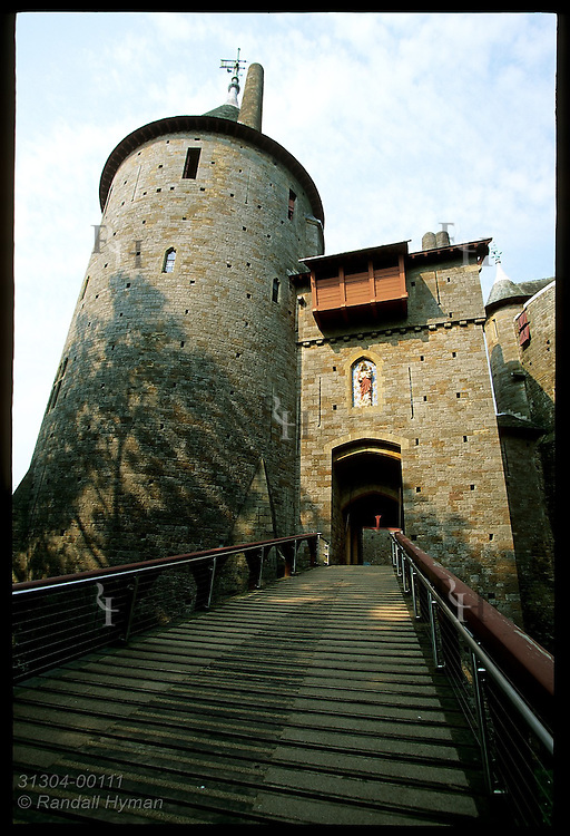 Ramp leads to guard tower & drawbridge at Castell Coch, built 1875-91 by Wm Burges for Lord Bute on medieval ruins; Cardiff, Wales